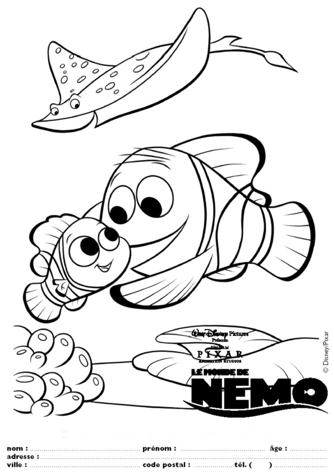 Nemo - Coloriage de walt disney ...